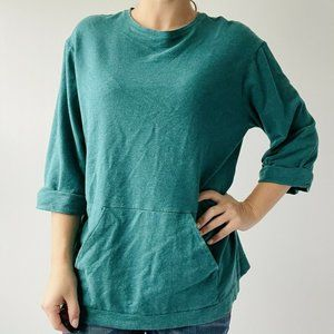 Pure Jill Relaxed Tunic 3/4 Sleeve Blue Scoop Neck